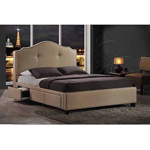 Baxton Studio Armeena Queen Upholstered Storage Bed with Nailhead Headboard, Beige