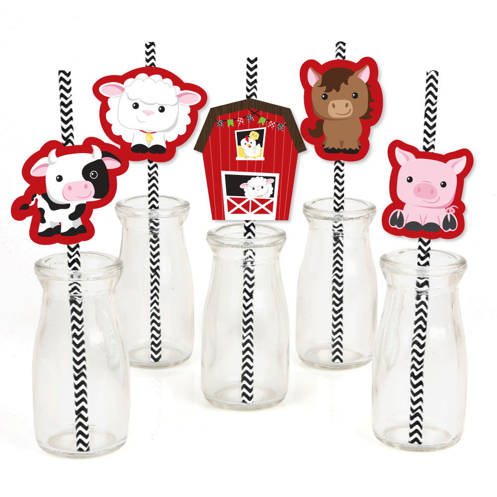 Farm Animals - Paper Straw Decor - Baby Shower or Birthday Party Striped Decorative Straws - Set of 24
