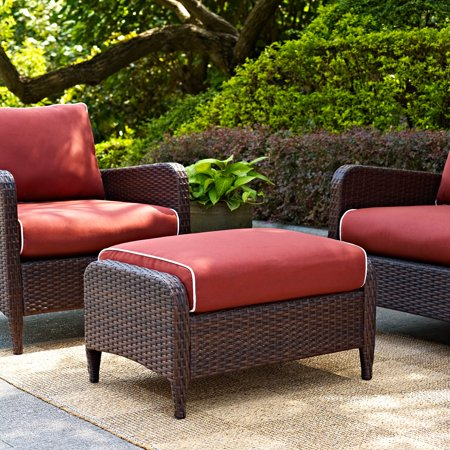 Crosley Kiawah Outdoor Wicker Ottoman with Sangria Cushions ()