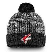 Arizona Coyotes Fanatics Branded Iconic Tri-Blend Cuffed Knit Hat with Pom - Black/Gray - OSFA