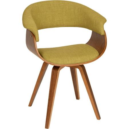 ARMEN LIVING Summer Modern Chair, Green Fabric and Walnut Wood