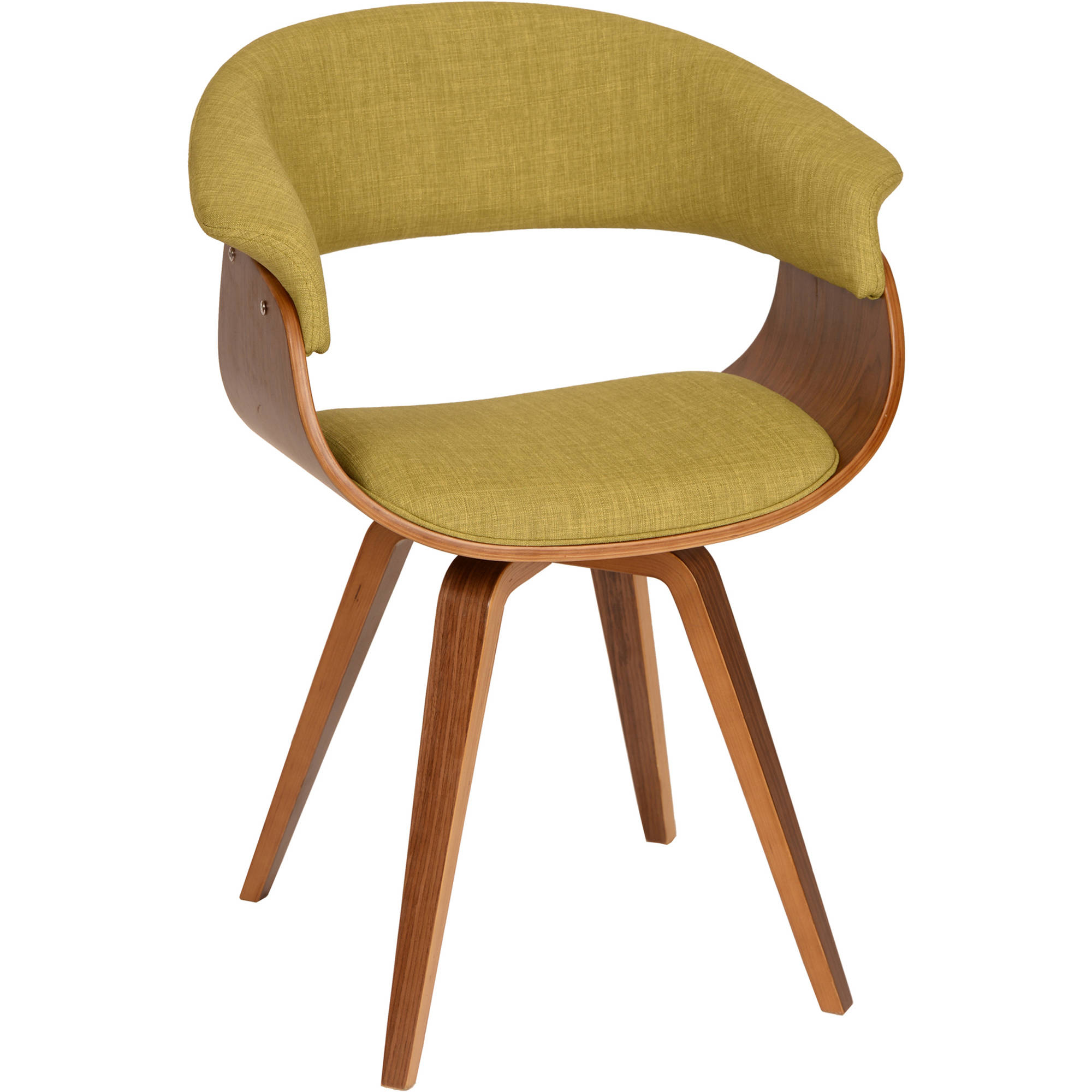 ARMEN LIVING Summer Modern Chair, Green Fabric and Walnut Wood