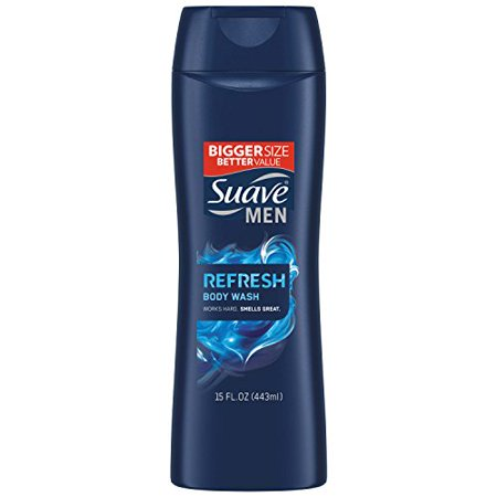 3 Pack Suave Men Refresh Body Wash - Works Hard, Smells Great! 15 Fl Oz