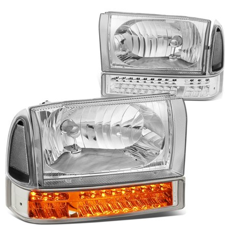 For 1999 to 2004 Ford F250 / F350 Super Duty Bumper+LED Turn Signal Headlight Chrome Housing Clear Corner Headlamp 00 01 02 03 (Ford Ranger Signal Corner)