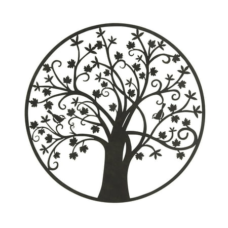 - Botanical Themed Metal Outdoor Tree Wall Plaque