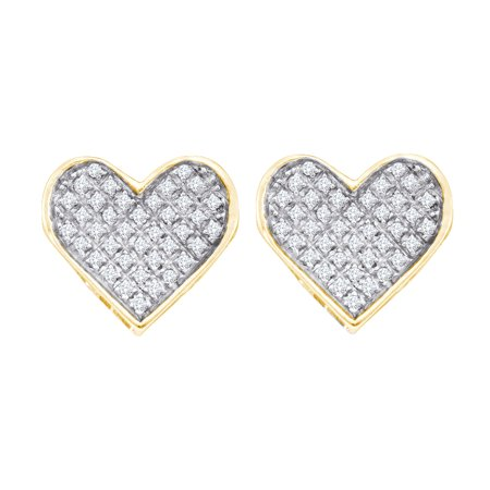Yellow-tone Sterling Silver Womens Round Diamond Heart Cluster Earrings 1/4 Cttw = .25 Cttw (I3 Clarity, round cut)