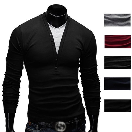c9b40cb8b2bc7 Fashion Men s Slim Fit V Neck Long Sleeve Muscle Tee T-shirt Casual Tops  Blouse