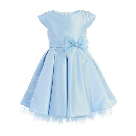 Sweet Kids Girls Light Blue Full Pleated Satin Bow Junior Bridesmaid Dress - Girls Light Blue Dress