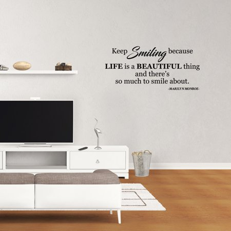 Wall Decal Quote Keep Smiling Because Life Is A Beautiful Thing And There's So Much To Smile About Marilyn Monroe Home Bedroom Lettering Words PC986 - Qoutes About Halloween