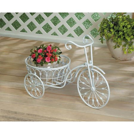 Garden Decor White Shabby Bicycle Planter Stand Indoor Outdoor Iron, By Garden Dcor from USA