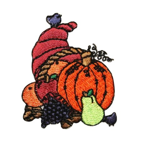 Harvest Applique (ID 1254 Cornucopia Fall Harvest Patch Thanksgiving Embroidered Iron On Applique)