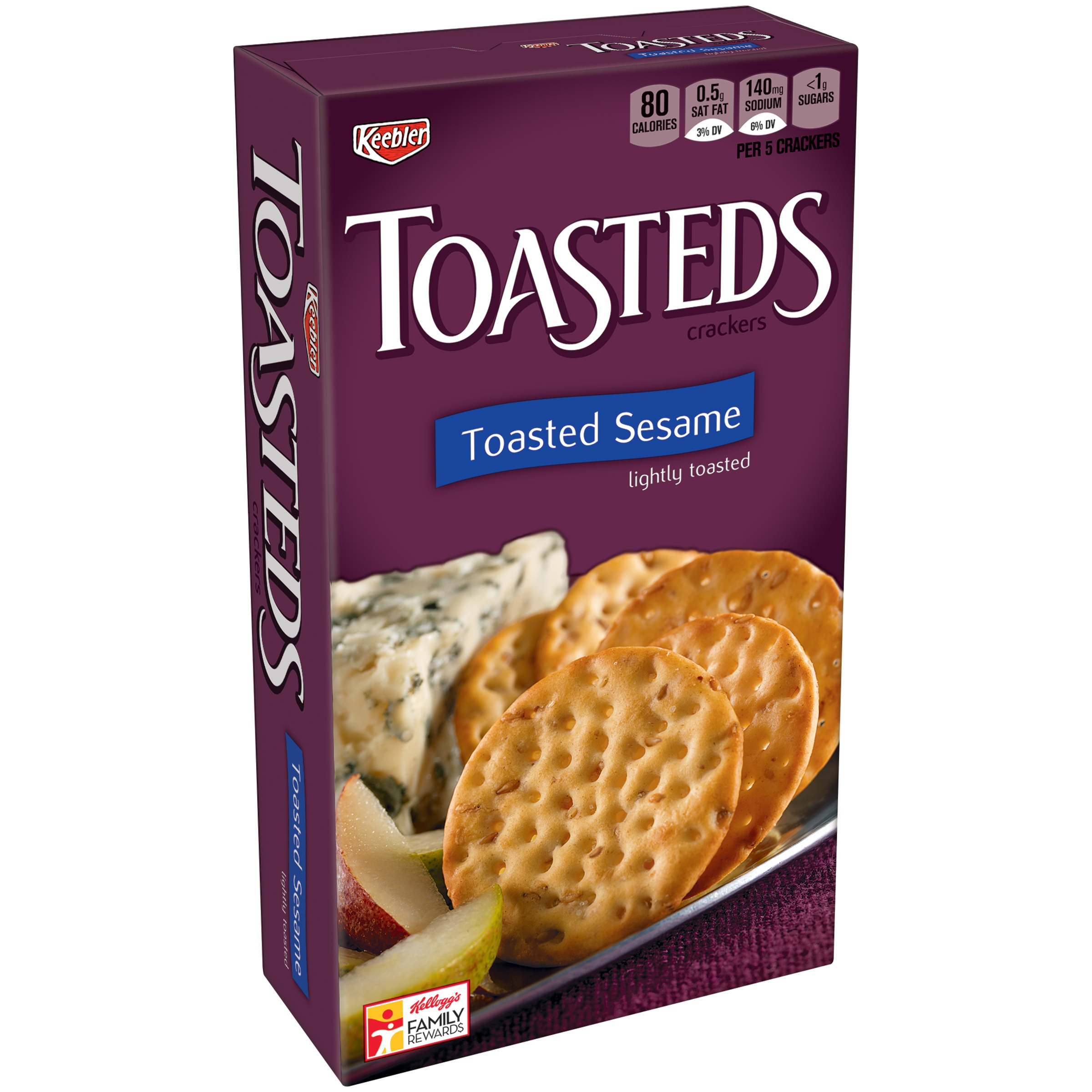 Keebler Toasteds Toasted Sesame Snack Crackers, 8 ounce