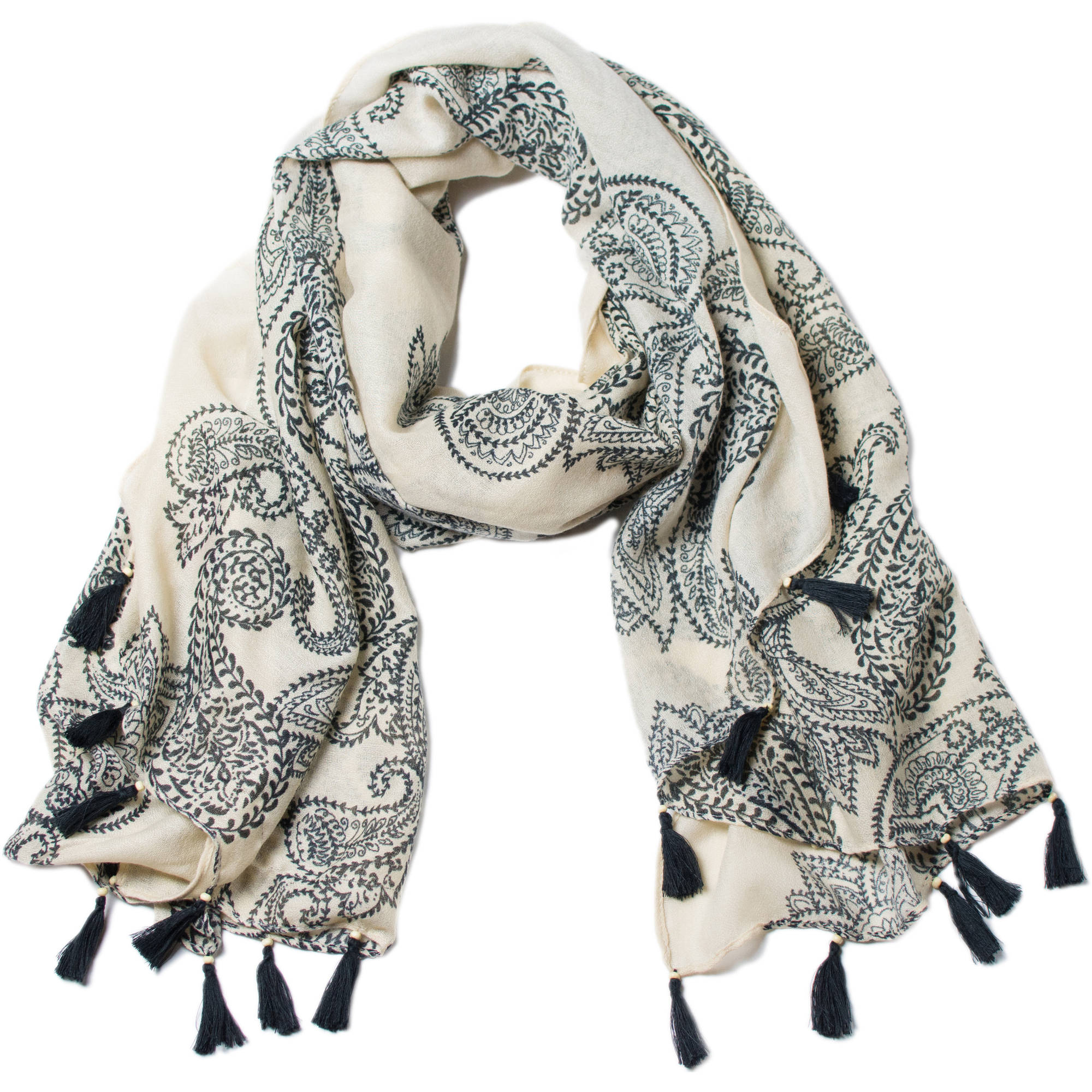 Women's Faded Glory Bold Paisley Oblong Scarf With Tassels