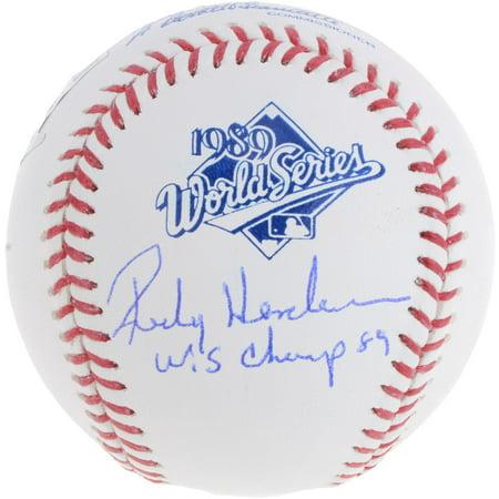 (Rickey Henderson Oakland Athletics Autographed 1989 World Series Logo Baseball with WS Champ 89 Inscription - Fanatics Authentic Certified)