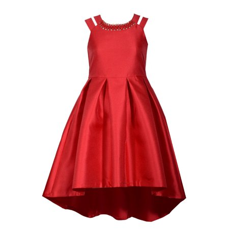 Bonnie Jean Big Girls 7-16 Split shoulder Red Holiday Party Dress