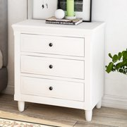 Bedroom Nightstand, Wooden Bedside Table with 3 Drawers, Dresser and Nightstand, Sofa/Chair End Side Table, Modern Simple File Cabinet with Drawers, Small Storage Furniture for Home Use, White, Y0292