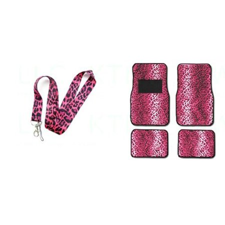 Animal Lanyards (A Set of 5 Piece Animal Print Front and Back Floor Mats and Lanyard Key Chain - Leopard Pink - Leopard)