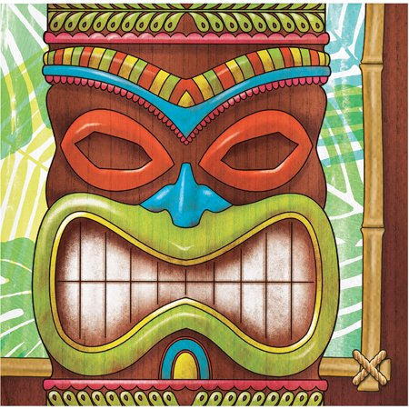 Tiki Time 16 Ct Beverage Napkins Summer Pool Party Luau - Luau Party Food Menu