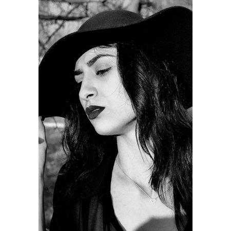 Laminated Poster Hat Sexy Woman Black And White Girl Poster Print 24 X 36