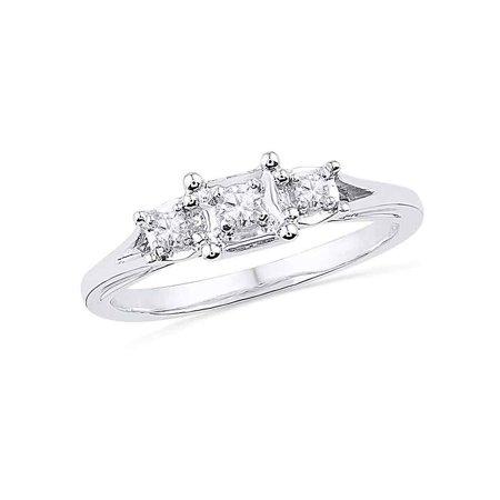 10kt White Gold Womens Round Diamond 3-stone Bridal Wedding Engagement Ring 1/10 Cttw (Diamond Engagement Bridal Ring)