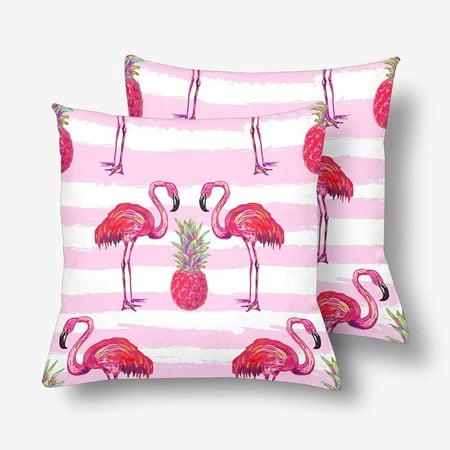 GCKG Summer Tropical Flamingo Pineapple Pillowcase Throw Pillow Covers 18x18 inches Set of 2 - image 3 de 3
