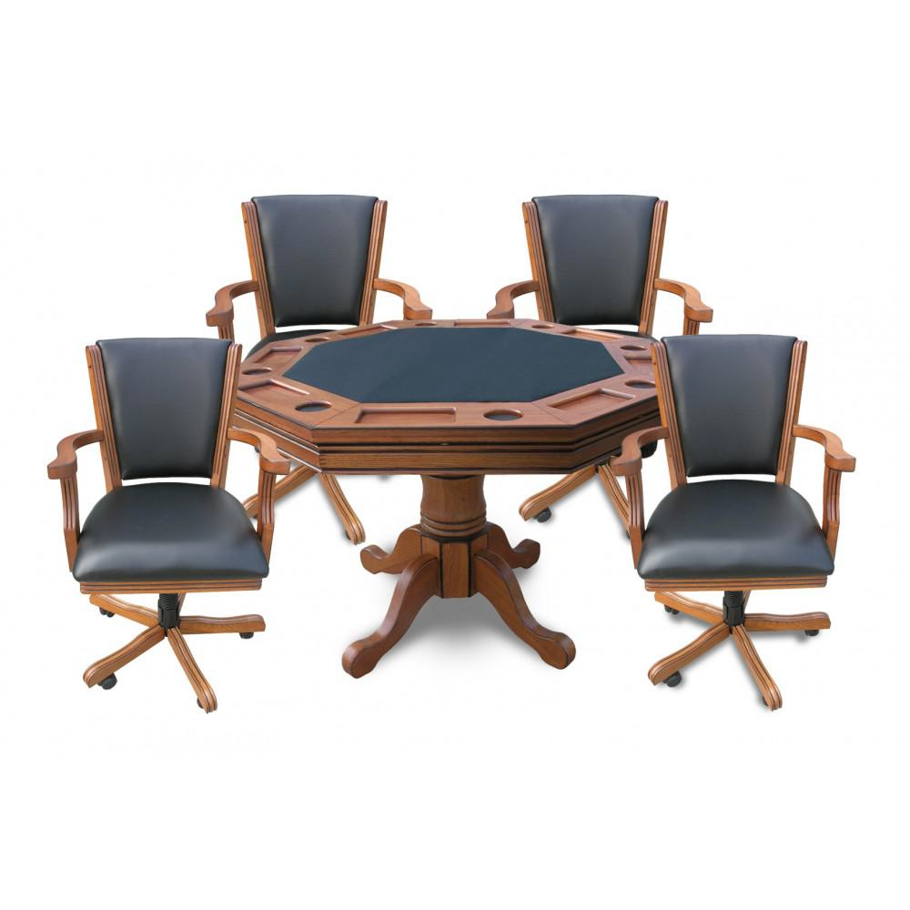 BlueWave NG2351 Antique Dark Oak Kingston 3-In-1 Poker Table w/ 4 Chairs