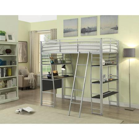 Escalon Workstation Loft Bed in Silver