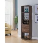 Furniture of America Boots Mid-Century 2-Drawer Wine Cabinet, Dark Walnut