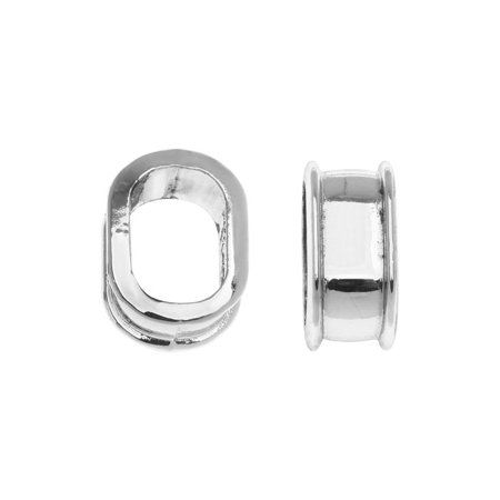 Global Chic Findings  Medium Oval Channel Beads Fits 10 5X7mm Cord  4 Pieces  Rhodium Plated Zinc
