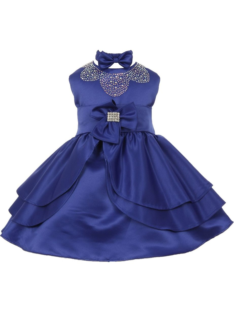 Baby Girls Royal Blue Rhinestud Bow Special Occasion Dress 3-24M