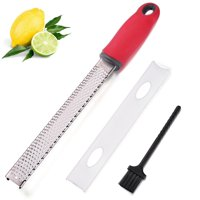 Citrus Lemon Zester & Cheese Grater, Parmesan Cheese, Lemon, Ginger, Garlic, Vegetables, Fruits, Razor-sharp Stainless Steel Blade Protective Cover, Dishwasher Safe with Cover And Cleaning Brush
