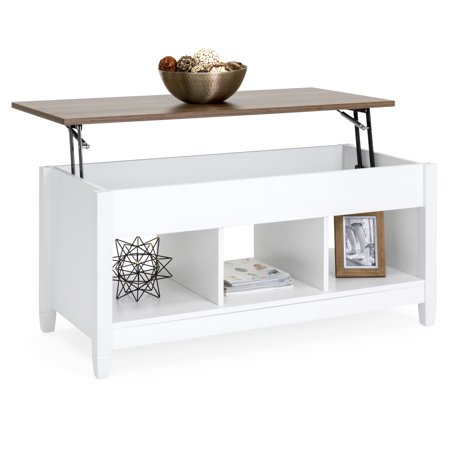 Best Choice Products Multifunctional Modern Coffee Table Desk Dining Furniture for Home, Living Room, Decor, Display w/ Hidden Storage and Lift Tabletop - White/Brown