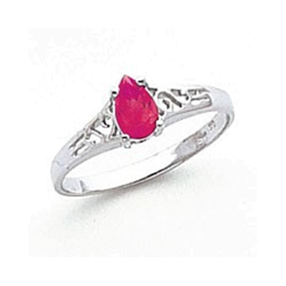 14k White Gold 6x4mm Pear Pink Tourmaline ring by