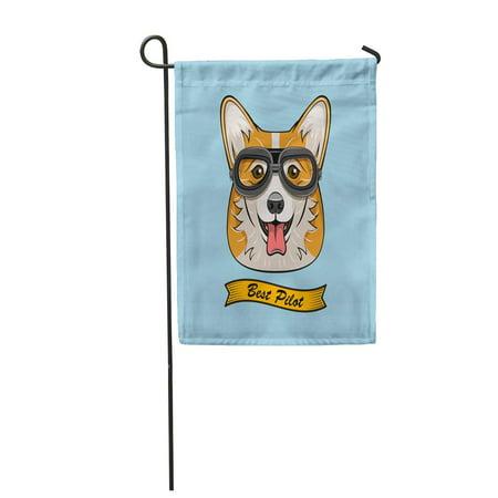 KDAGR Cute Pilot Corgi Dog Face Traveler Retro Aviator Glasses Best Garden Flag Decorative Flag House Banner 12x18