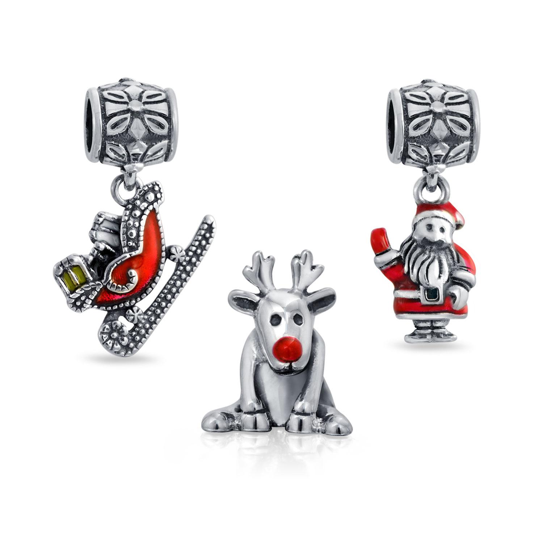 Christmas Gifts 925 Silver Rudolph Santa Sleigh Christmas Bead Set Fits Pandora