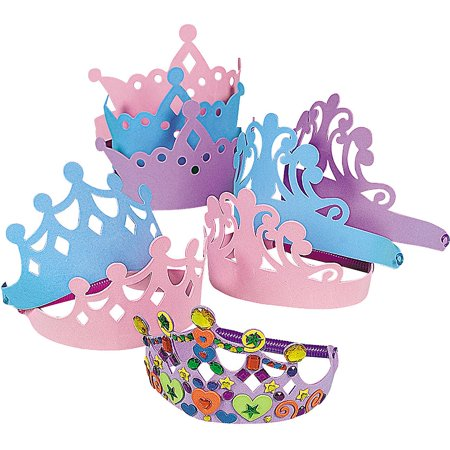 12 Foam Princess Tiara Assortment Girls Party Favors Decorate Your - Princess Tiara Favors