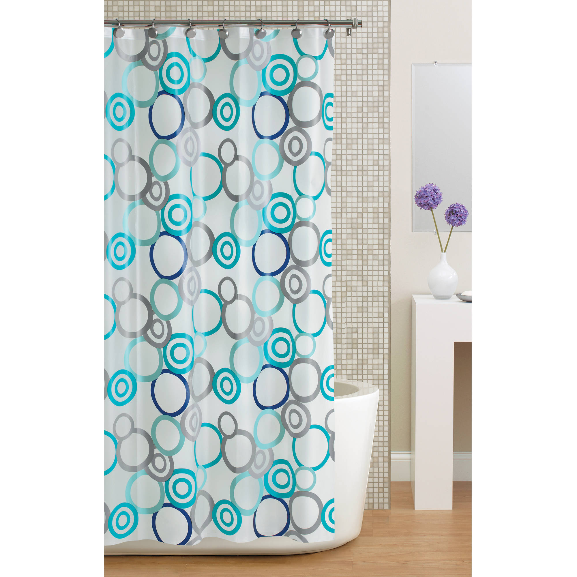 Mainstays Circles PEVA Shower Curtain, Frosty