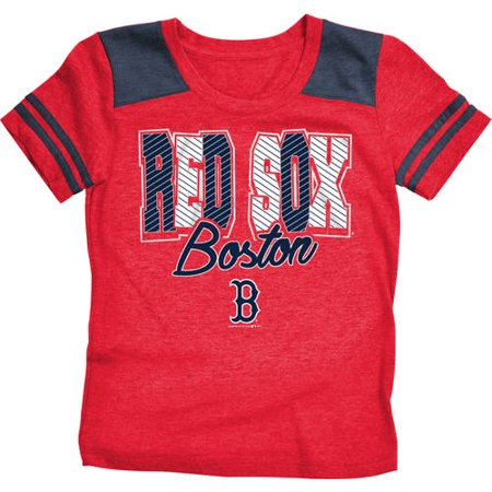 MLB Boston Red Sox Girls Short Sleeve Team Color Graphic