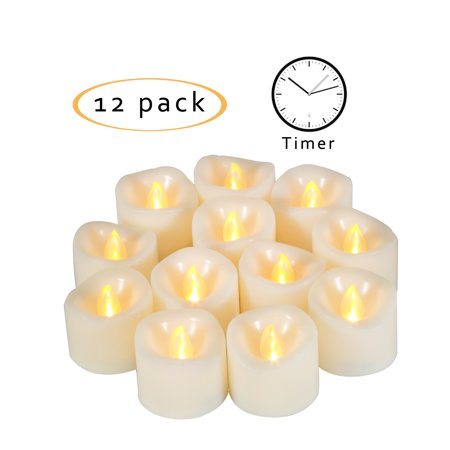 Flameless Tea Light (Candle Choice Flameless LED Battery Operated Tea Light / Votive Candles with Timer 1.5
