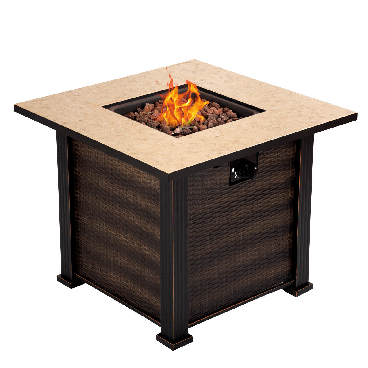 "Costway 30"" Square Propane Gas Fire Pit 50000 BTUs Heater Outdoor Table Fireplace Cover"