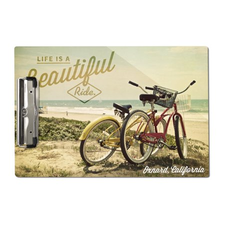 Oxnard, California - Life is a Beautiful Ride - Beach Cruisers - Lantern Press Photography (Acrylic Clipboard) Cruiser Mate Forms Holder