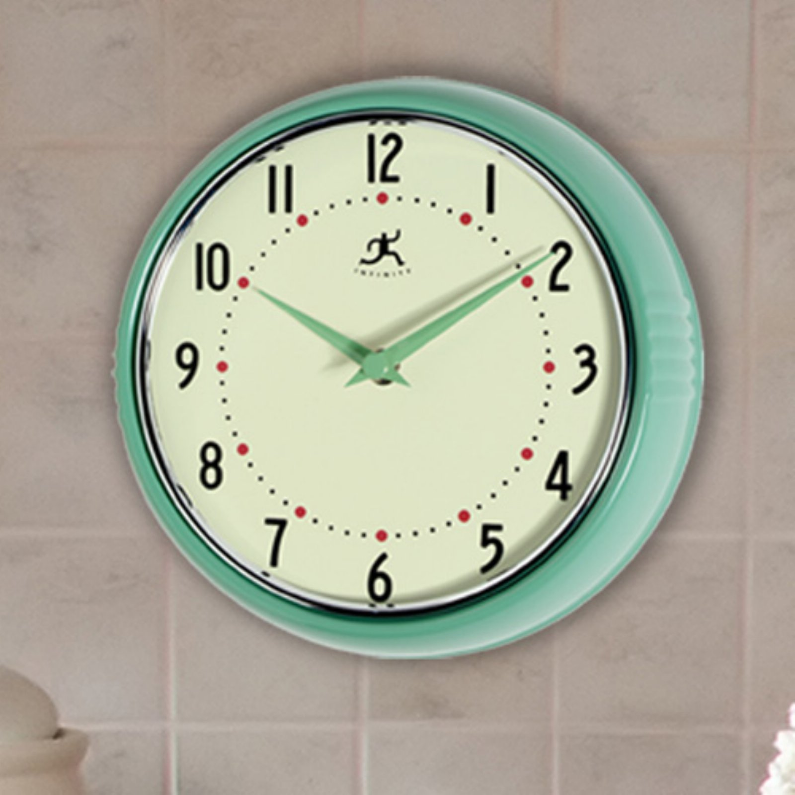 Infinity Instruments-Green Round Metal Retro 9.5 in. Wall Clock