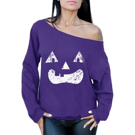 Awkward Styles Pumpkin Face Off Shoulder Sweatshirt Halloween Pumpkin Oversized Sweater for Women Halloween Off The Shoulder Tops Dia de los Muertos Baggy Sweater Day of the Dead Party Outfit (Halloweens Weather)