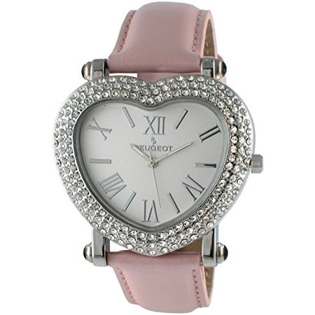 Peugeot Black Wrist Watch (Peugeot Womens Heart Shaped Wrist Watch with Crystal Studded Case & Leather Strap )
