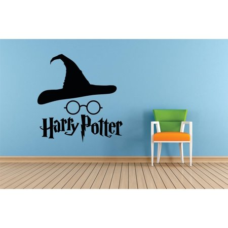 Hat & Glasses Harry Potter Character Films Movies Books Series Art Design Silhouette Peel & Stick Custom Wall Decal Vinyl Sticker 12 Inches X 12 Inches ()