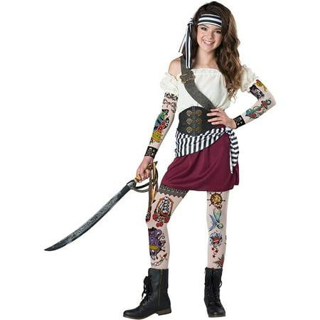 Girls Tween Tattoo Pirate Costume size Large 12-14 - Girl Pirates Costumes