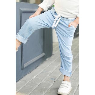 Kids Boys Drawcord Waist Casual Thin Jeans