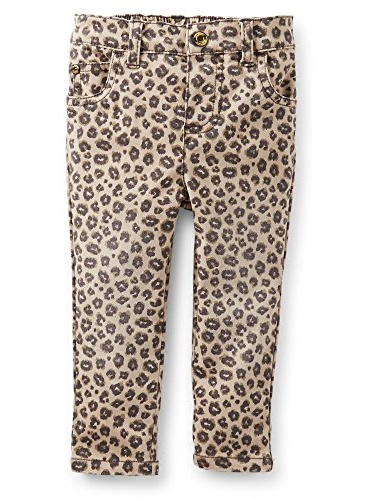 Carter's Baby Girls' Stretch Twill Jeans - (Brown) Cheeah Print (18 Months)