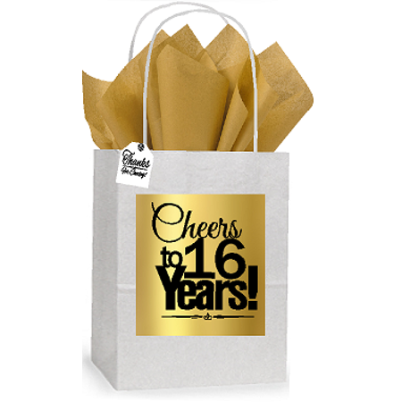 16th Cheers Birthday / Anniversary White and Gold Themed Small Party Favor Gift Bags Stickers Tags -12pack - Good Party Themes