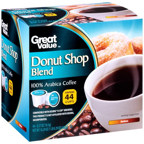 Great Value Donut Shop Blend Coffee Single-Serve Cups, 44 count